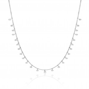 14K White Gold Dashing Diamonds 24 Diamond 1.20 Ct Necklace
