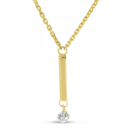 14K Yellow Gold Dangling Bar Pierced Diamond Dashing Diamond Necklace