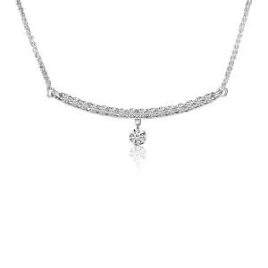 14K White Gold Curved Bar Pierced Diamond Fashion Necklace