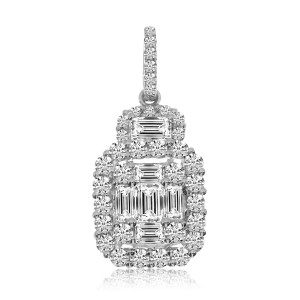 14K White Gold Baguette and Round Diamonds Large Cushion Pendant