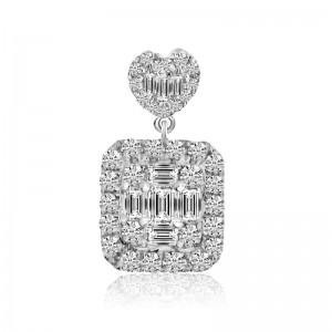 14K White Gold Baguette and Round Diamonds Square Pendant