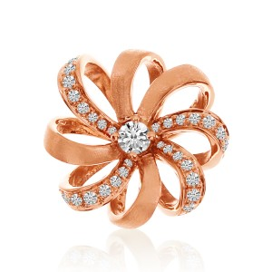 14K Rose Gold Flower Diamond Fashion Pendant