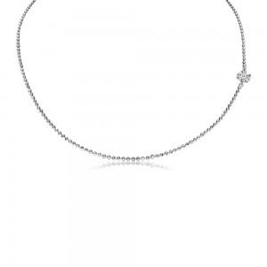 14K White Gold .25 ct Side Pierced Diamond 18 inch Dashing Diamond Necklace