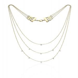 14K Yellow Gold Triple Chain Convertible Dashing Diamonds Necklace