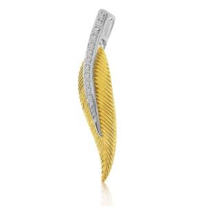 14K Two Tone Yellow and White Gold Diamond Leaf Pendant