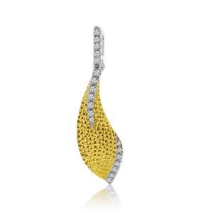 14K Two Tone Yellow and White Gold Textured Diamond Fashion Pendant