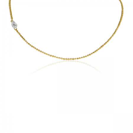 14K Yellow Gold Dashing Diamond Offset Marquis Necklace