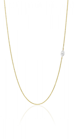 14K Yellow Gold Dashing Diamond Offset East 2 West Marquis Necklace