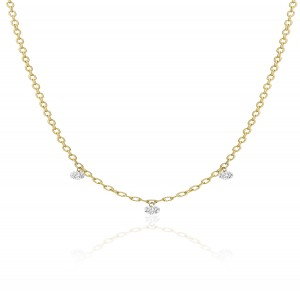 14K Yellow Gold 18 inch Triple Diamond Dashing Diamonds Necklace