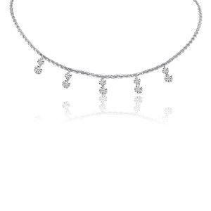 14K White Gold 5 Stone Pierced Double Diamond Dashing Diamond Necklace