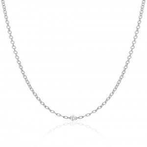 14K White Gold Single Double Pierced Diamond Dashing Diamonds Brushed Chain Neck