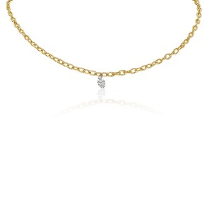 14K Yellow Gold Single Pierced Diamond Dashing Diamond Brushed Chain Necklace