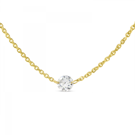 14K Yellow Gold Single Dashing Diamond Cable Chain Necklace