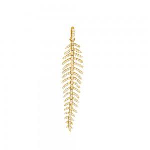 14K Yellow Gold Diamond Feather Fashion Pendant