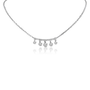 14K White Gold Five Pierced Dangling Dashing Diamonds Bar Necklace