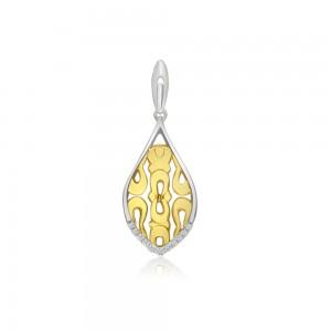 14K Two Tone Yellow and White Gold Filigree Diamond Pendant