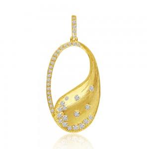 14K Yellow Brushed Gold Oval Diamond Fashion Pendant