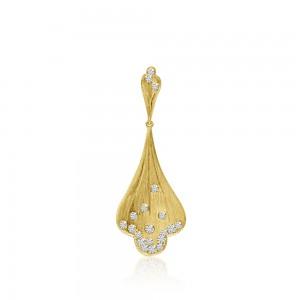 14K Brushed Yellow Gold Fan Diamond Fashion Pendant