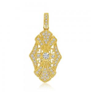 14K Yellow Gold Art Deco Diamond Fashion Pendant