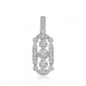 14K White Gold 3 Stone Antique Diamond Fashion Pendant