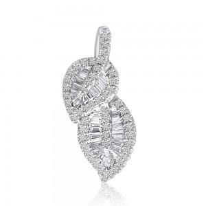 14K White Gold Baguette Diamonds Double Leaf Pendant