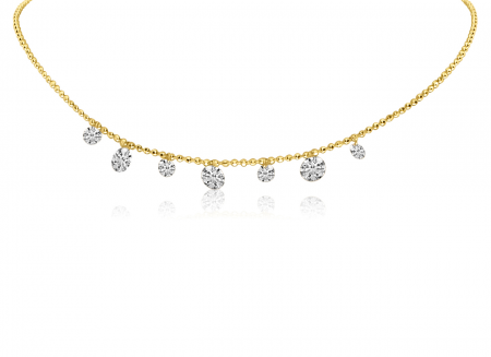 14K Yellow Gold Dashing Diamond 7 stone Diamond By the Yard Necklace