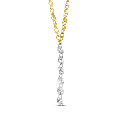 14K Yellow Gold Dashing Diamond Cable Chain Necklace