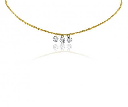 14K Yellow Gold Dashing Diamond 3 Stone Cable Chain Necklace