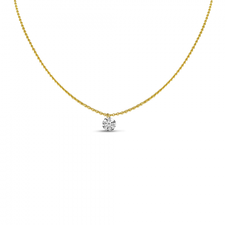 14K Yellow Gold Dashing Diamond Single Diamond Adjustable 22 inch Cable Necklace