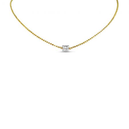 14K Yellow Gold Dashing Diamond Princess Cut Necklace