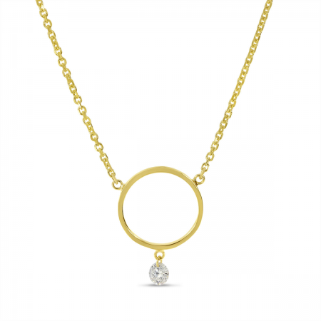 14K Yellow Gold Dashing Diamond Circle Necklace