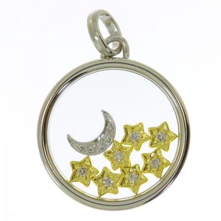 14K Two-Tone Moving Star Diamond Circle Pendant
