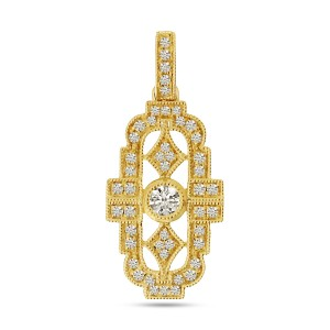 14K Yellow Gold Art Deco Diamond Pendant