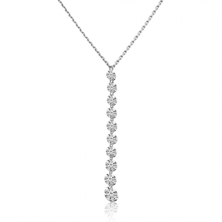 14K White Gold Graduated Dashing Diamond Drop Cable Chain Necklace