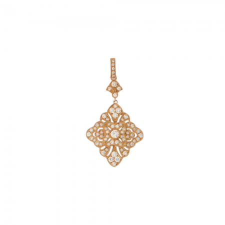 14K Rose Gold Art Deco Diamond Pendant