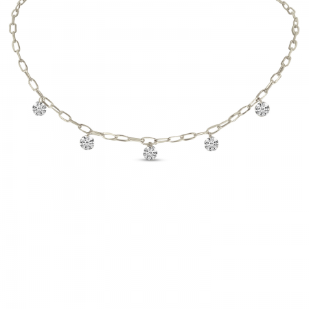 14K White Gold Dashing Diamond 5 Stone Lightweight Link Necklace