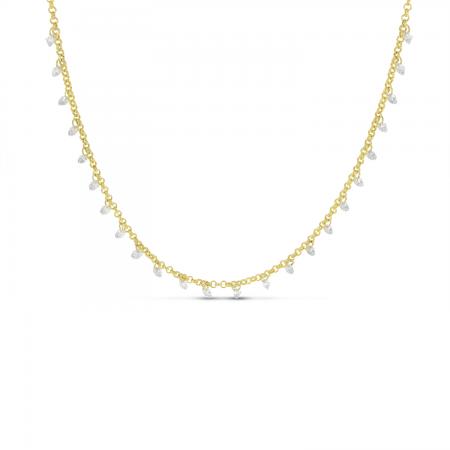 14K Yellow Gold Dashing Diamond 24-Stone Rolo Necklace