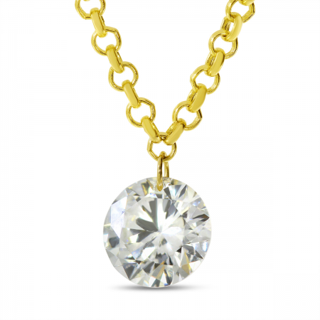 14K Yellow Gold Dashing Diamond Single Pierced Cable Necklace