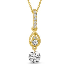 14K Yellow Gold Dashing Diamond Pierced Diamond Teardrop Pendant