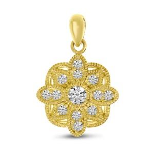 14K Yellow Gold Diamond Millgrain Floral Pendant