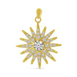 14K Yellow Gold Diamond Starburst Pendant