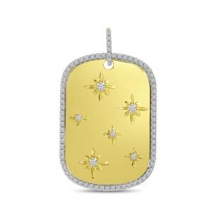 14K Yellow Gold Diamond Starburst Dog Tag Pendant
