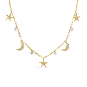 14K Yellow Gold Dashing Diamond Moon and Stars Pierced Diamonds Necklace