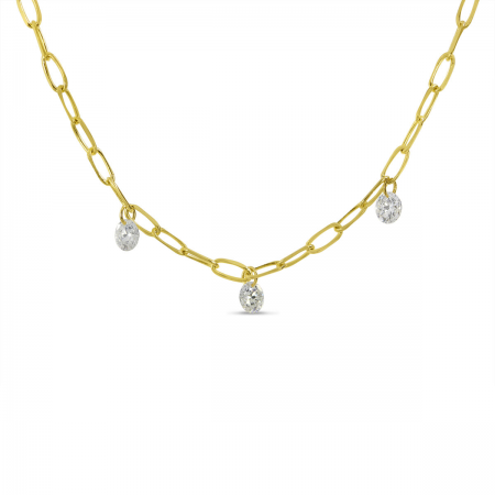 14K Yellow Gold 3 Diamond Dashing Diamond Lightweight Link Necklace