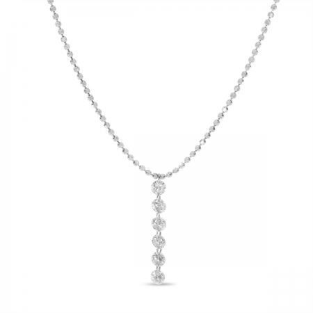 14K White Gold Dashing Diamond 6 Pierced Diamonds Bead Chain Necklace