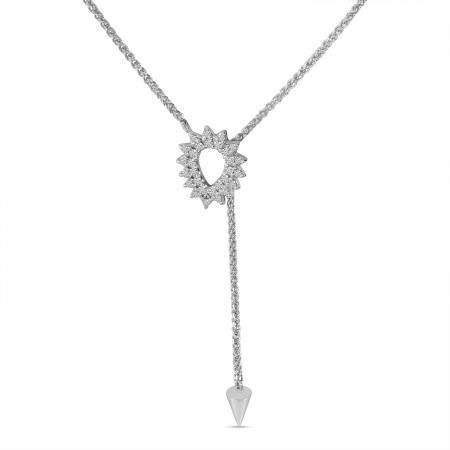 14K White Gold Long Diamond Toggle Necklace