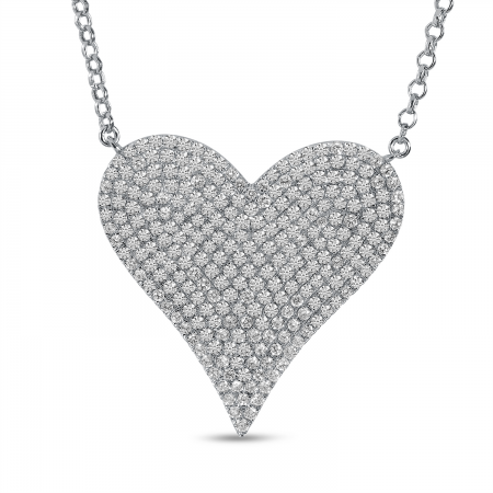 14K White Gold Large Diamond Heart Necklace