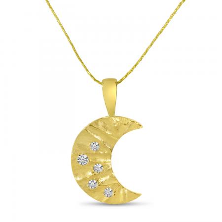 14K Yellow Gold Brushed Diamond Moon Pendant