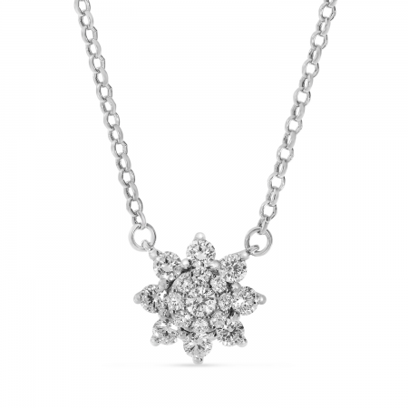 14K White Gold Diamond Starburst Necklace