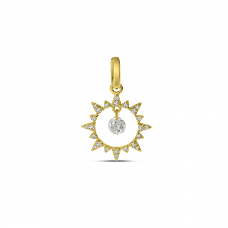 14K Yellow Gold Dashing Diamonds Sun Pendant